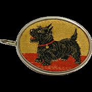 Vintage Scottish Terrier Dog Embroidered Measuring Tape W. Germany