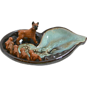 Vintage Tilso Japan Pottery Mother Boxer Dog and Puppies Ashtray c. 1950's