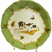 Vintage Pottery Elegant Decorative Plate with Dog, Butterflies and Bees