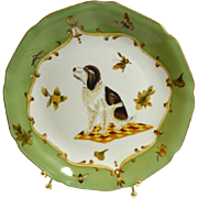 Vintage Pottery Elegant Decorative Plate with Dog, Butterflies and Bees #3