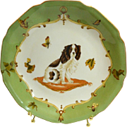Vintage Pottery Elegant Decorative Plate with Dog, Butterflies and Bees #4