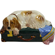 Italian Art Pottery Spaniel Dog on Trunk Made for Tiffany