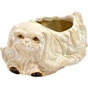 Vintage Pekingese Dog Ceramic Planter
