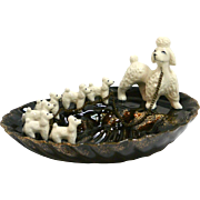 Vintage Japan Pottery Mother Poodle Dog and Puppies Trinket Dish c. 1950's