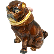 Antique Majolica Pug Dog Tobacco Jar c. late 19th century