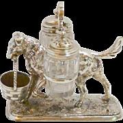 Victorian Silver Plated Dog Cruet Set c. 1875