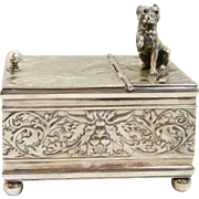Victorian Silverplate Humidor with Pug Dog c. 1887
