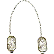 Vintage Webster Co. Sterling Silver Baby Bib Clips with Pug Dogs c.1930's - 1940's