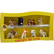 Steiff Dog Wooden Display Case Complete With 8 Miniature Mohair Dogs Mint
