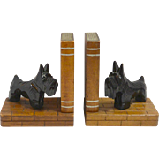 Vintage Hand Carved Scottish Terrier Wood Bookends c. 1950's