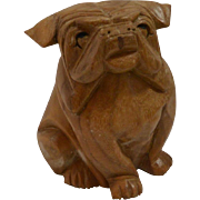 Vintage Folk Art Wood Carved Sitting Bulldog