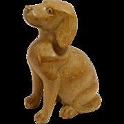 Vintage Folk Art Wood Carved Sitting Spaniel Dog