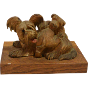 Hand-Carved Wood Skye Terrier Dog with Pups