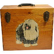 Vintage Oak Wood Dog Grooming Supply Carry Box c. 1930