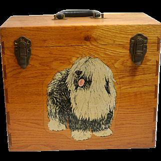 Vintage Oak Wood Dog Grooming Supply Carry Box c. 1930