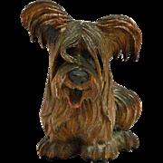 Anri Wood Carved Skye Terrier Dog