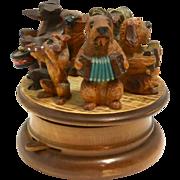 Anri Carved Dog Figural Rotating Music Box