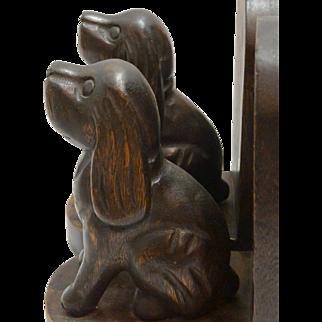 Vintage Wood Carved Folk Art Spaniel Dog Bookends