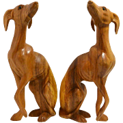 Handcarved Wood Matched Pair of Whippet Dog Figurines