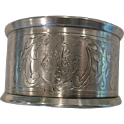 Large, OLD, Hallmarked Sterling Silver Napkin Ring, with Script Monogram