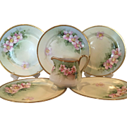 Set of 6 Nippon, Hand Painted, Vintage J & C Bavaria Floral Plates with matching Pitcher, 22K gold trim
