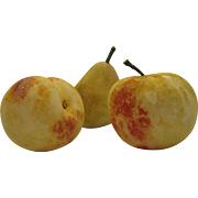 Set of 3 Vintage Alabaster Italian Carved Marble Fruit: Apple, Peach, and Pear