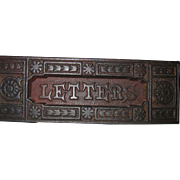 Very Old, English Cast Iron Mail Slot, LETTERS