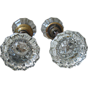 EXCELLENT CONDITION, OLD Clear Crystal and Brass Door Knobs, 4 knobs (sold together for usage on 2 separate doors)