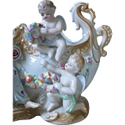 Large, Ornate Hand Painted Angel and Putti Center piece, Betson,
