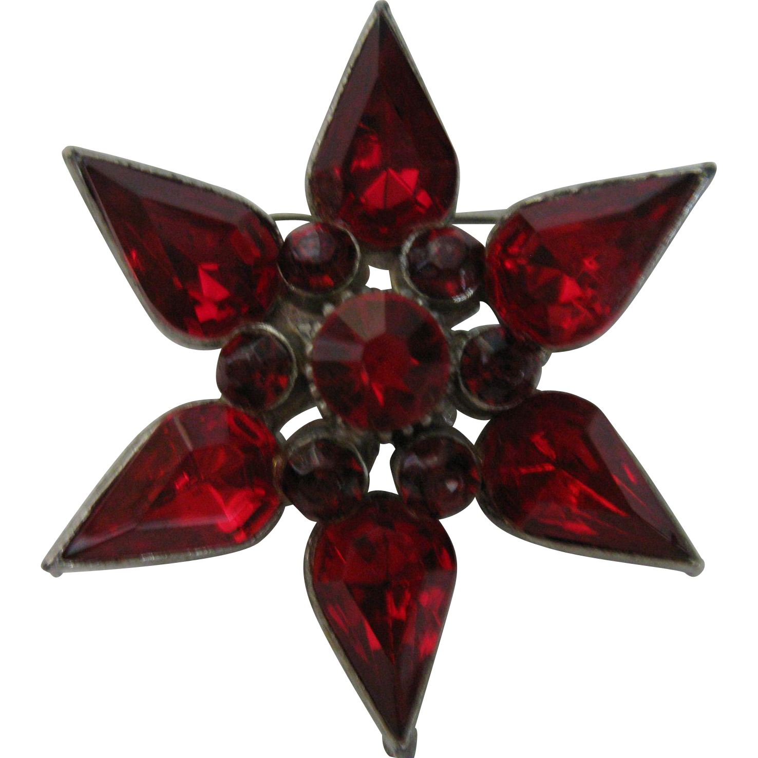 Vintage dark ruby red rhinestone star flower brooch from