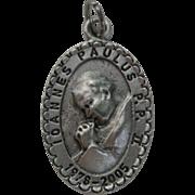 Silver Pope John Paul II Charm Token Pendant, Canonization ceremony in Rome.