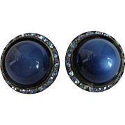 Vintage Pair of Bright Cobalt Blue Moonstone and Ice Blue Rhinestone DOME Earrings