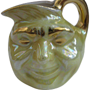 Vintage Yellow and Gold Luster Ware Man in the Moon Toby Jug, 1940's