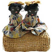 ON HOLD FOR BILLIE:  Antique, Hand Made Folk Art Pair of TWIN Dolls, sitting on a Bale of Hay, South Carolina