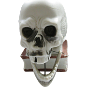 ***ON HOLD FOR GAYLE!***  Early, Schafer & Vater, Bisque Ceramic Skull Nodding Candle Holder, Halloween, Germany