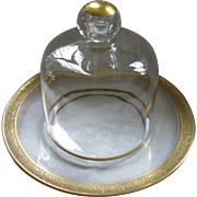 Perfect, Vintage Clear Glass Cloche and Under Plate, with Gilded Gold Trim and Accents
