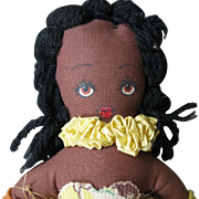 Vintage, WW II, Little Black Brown Hula Girl, Rag Doll, Hand Made in Hawaii