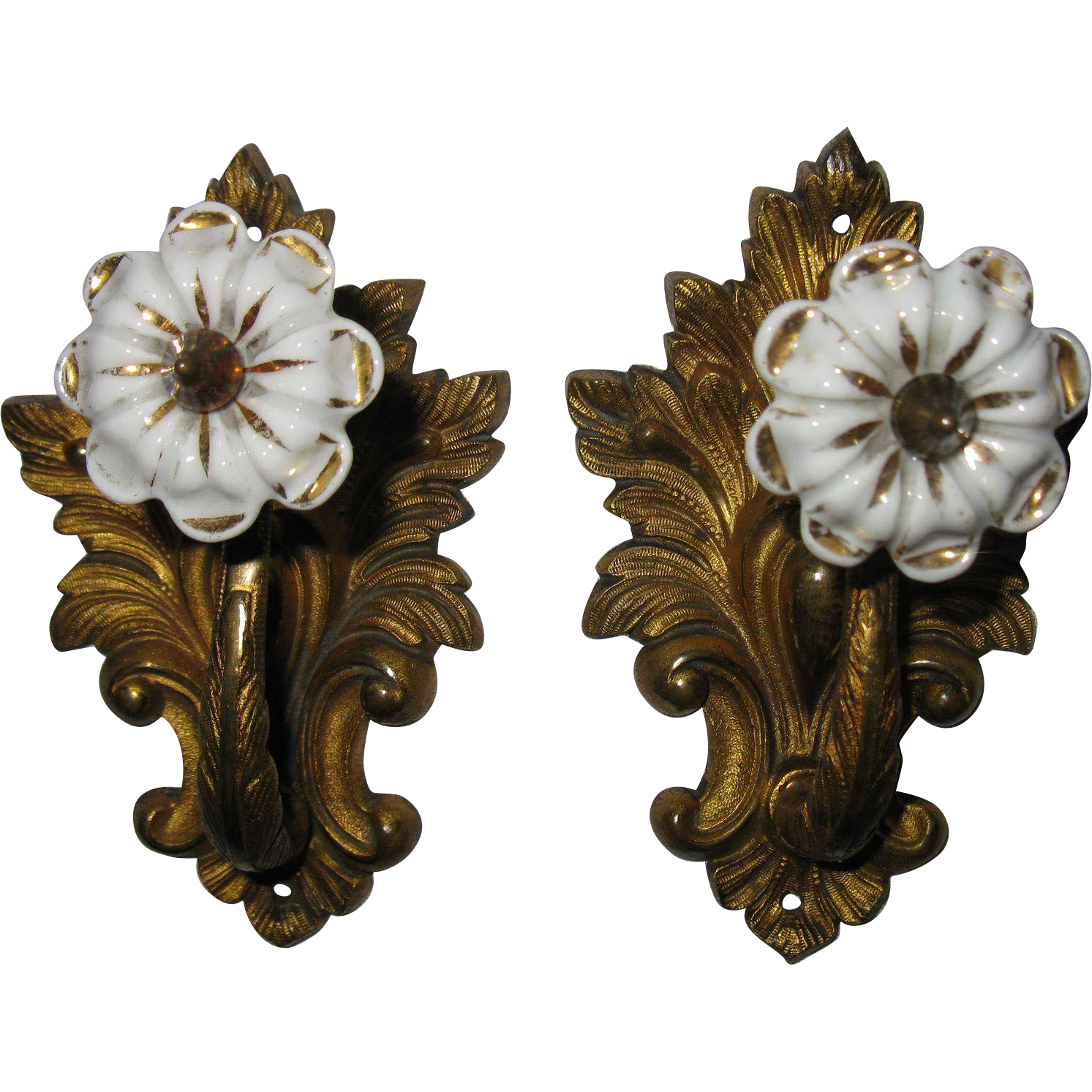Pair Of Antique French Drapery Curtain Tiebacks Gold Ormolu Circa From Sweet Tea Southern