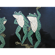 "FLASH SALE ITEM!  PAIR of Vintage COUROC ""Happy, Dancing Frogs"" TRAYS, 2 Piece SET, Wood Inlay,"
