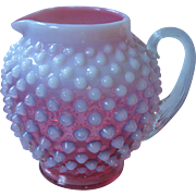 Very Old,  Fenton Glass Opalescent Ruby Cranberry Hobnail Pitcher