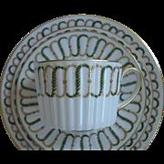 4-Piece Set of Limoges, France, A. Lanternier & Co., Porcelain, cup, saucer, bread plate and salad dessert plate