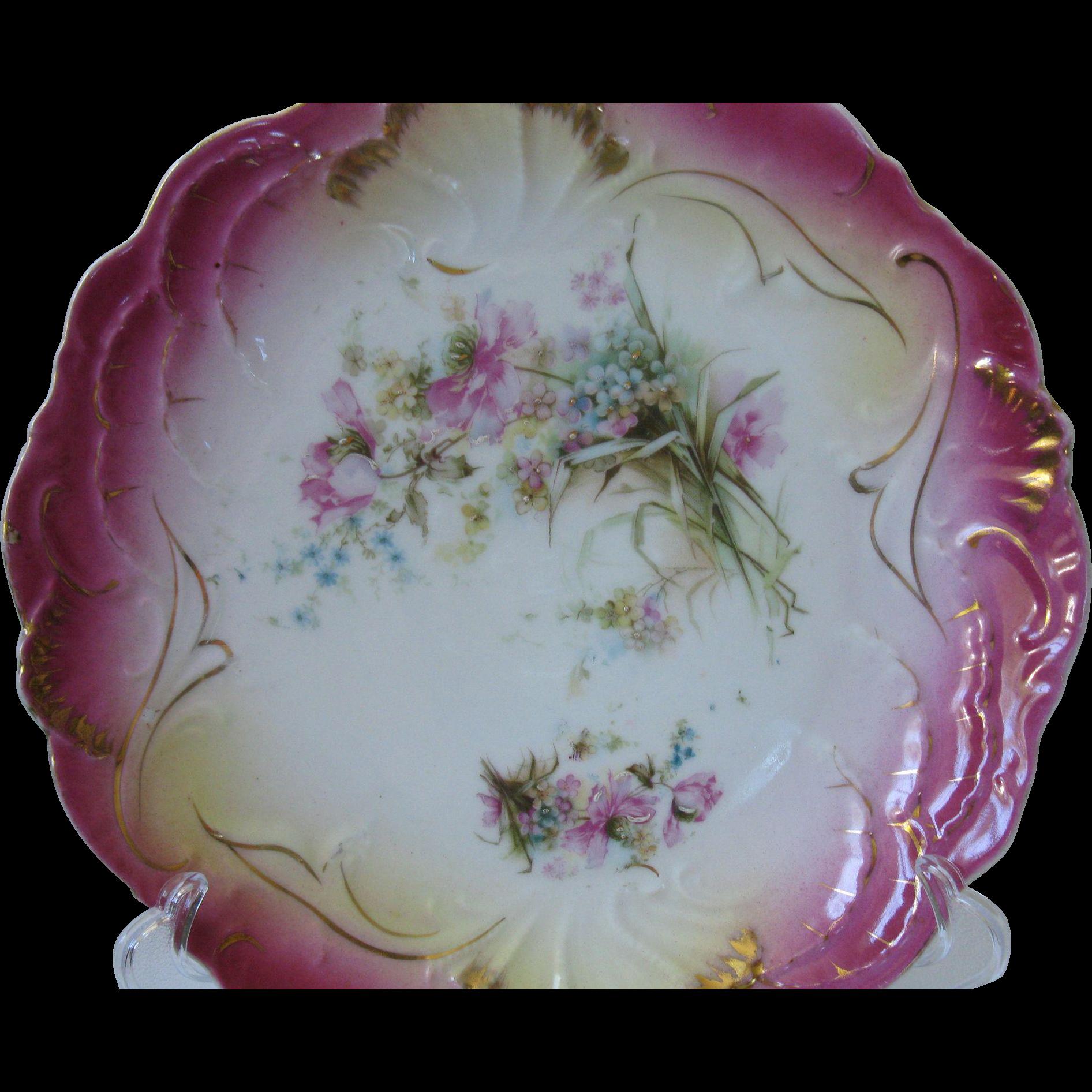 Very Rare, Antique Hand-Painted Porcelain Bavarian Cake
