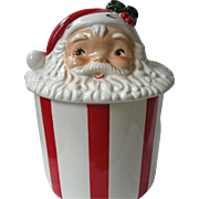 RARE, Vintage Lefton Santa Face Candy-Striped Cookie Jar, Hand-Painted, Early 1950's