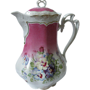 ***ON HOLD FOR VICKI***Early, Ornate Rosenthal, German Porcelain Coffee Pot, Hand-Painted Pansies, Pink, Purple, 22 K Gold