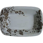 """Brown, Transferware Ironstone Aesthetic """"Spring"""" Bowl Serving Dish by W.H. Grindley & Co. Tunstall,  England, 1880-1891"""