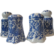 "4-Piece SET of Vintage, Japanese Phoenix ""Howo Bird"" Salt & Pepper Shakers, Blue and White Porcelain,"