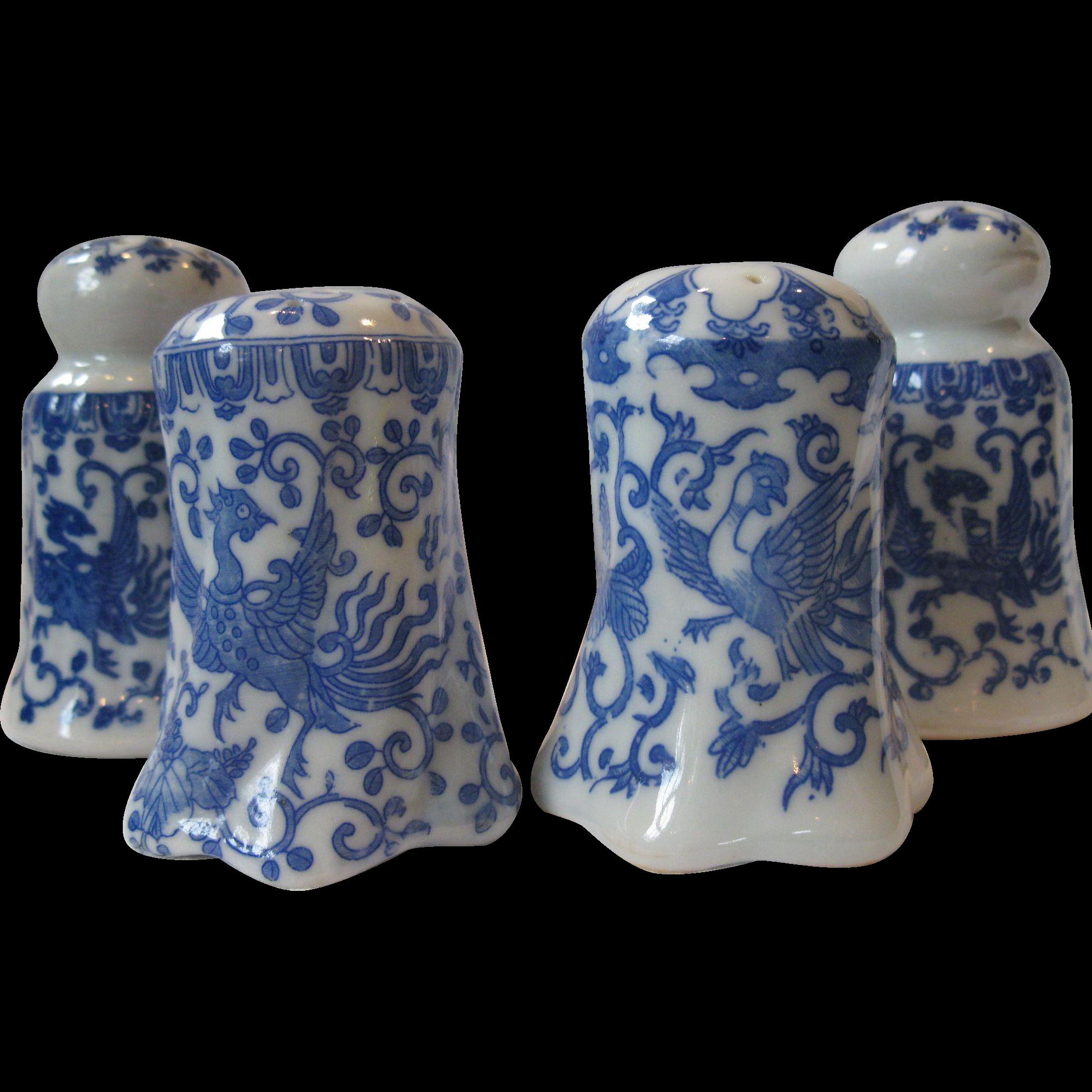 4 Piece Set Of Vintage Japanese Phoenix Howo Bird Salt
