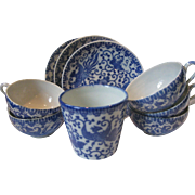 "Set of 9 PIECES of Japanese Blue and White Porcelain, Japanese Phoenix ""Howo"" Bird"