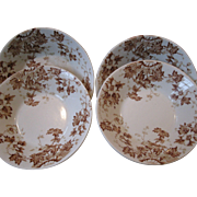 "EARLY Set of 4 John Maddock & Sons Vitrified English Ironstone Bowls, Brown Transferware, ""Vitreous Vine"""