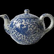 "Large, Japanese Phoenix ""Howo"" Bird Blue and White Porcelain Tea Pot, Noritake, Early Morimuro Brothers"